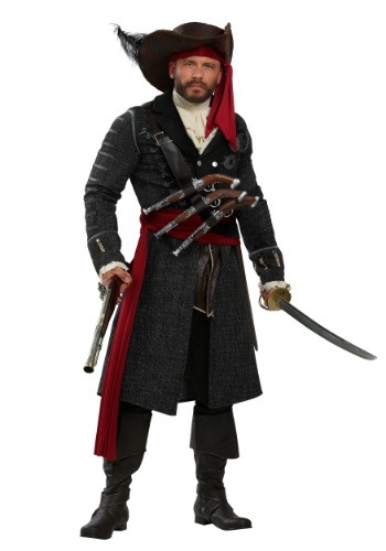 Plus Size Men's Blackbeard PIrate Halloween Costume.  Costume has a black jacket, big pirate hat and pretty snazzy pirate boots!