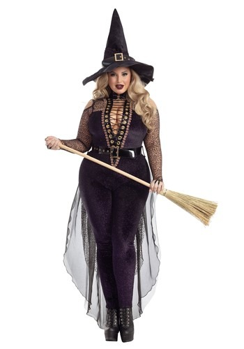 Plus size black witch costume with pants, lacing and train!
