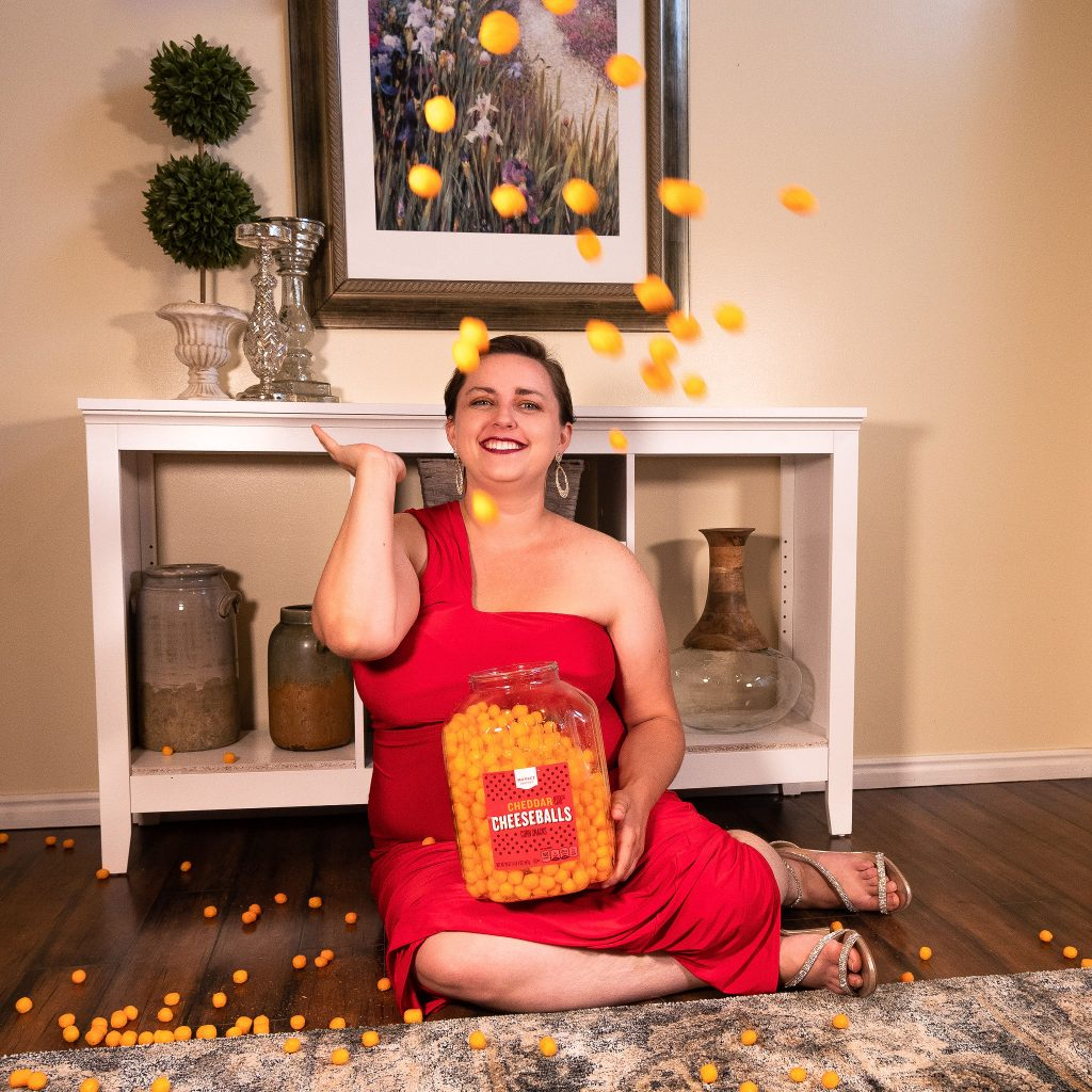Plus size editorial featuring snacks and red evening gown from ASOS.jpg