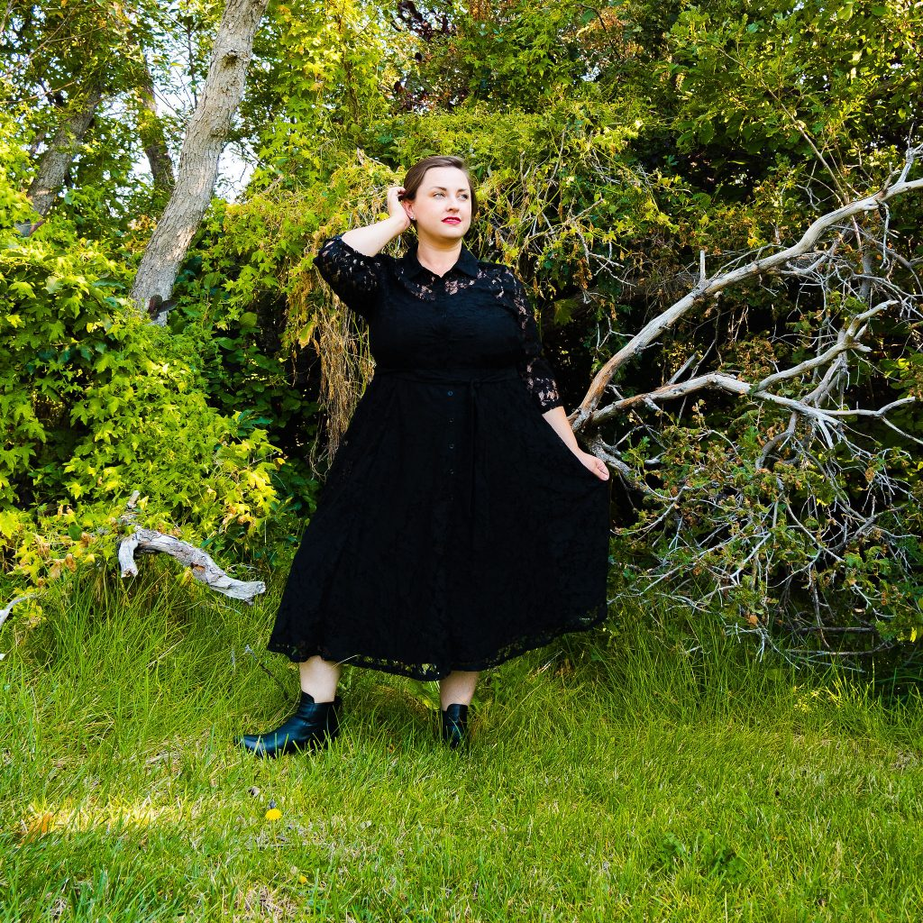 Plus size fall fashion black witch dress look book featuring Torrid 2020