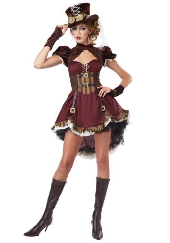 Plus size maroon steampunk costume with hat and short maroon skirt.  Goes up to a 4X.