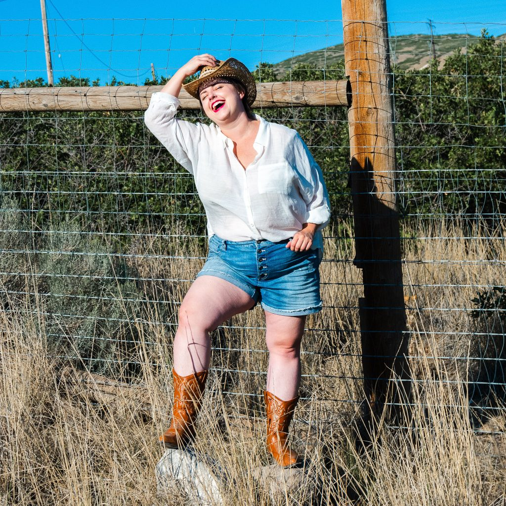 cowgirl boot and hat - plus size fashion photoshoot