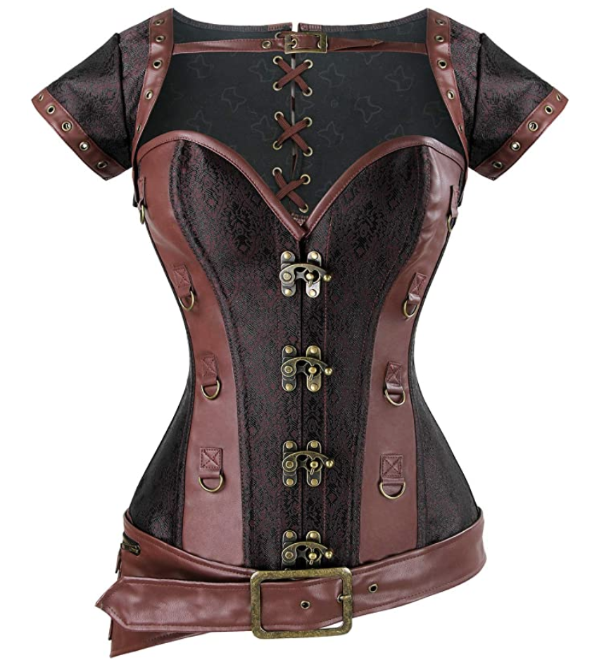 Plus size cosplay corset jacket from Amazon in black and brown.  Faux leather.