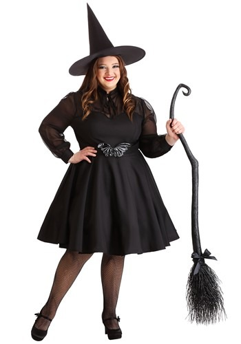 sweet plus size modest witch Halloween costume in black