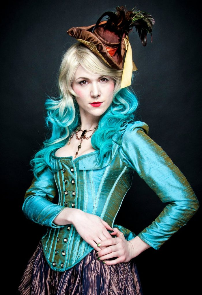 Gorgeous light blue custom steampunk corset jacket for plus size victorian steampunk cosplay