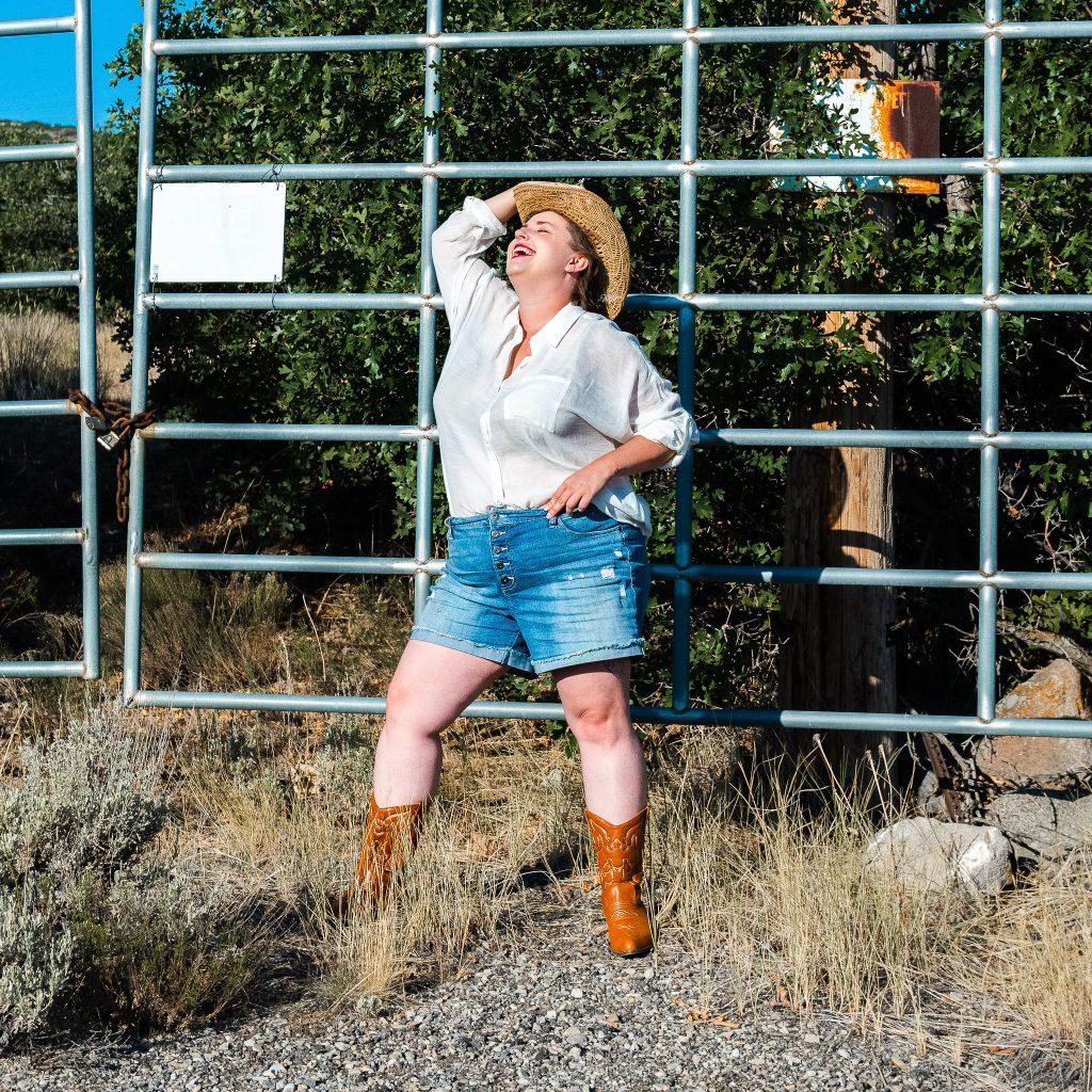 Torrid fall fashion cowgirl editorial plus size. model from utah
