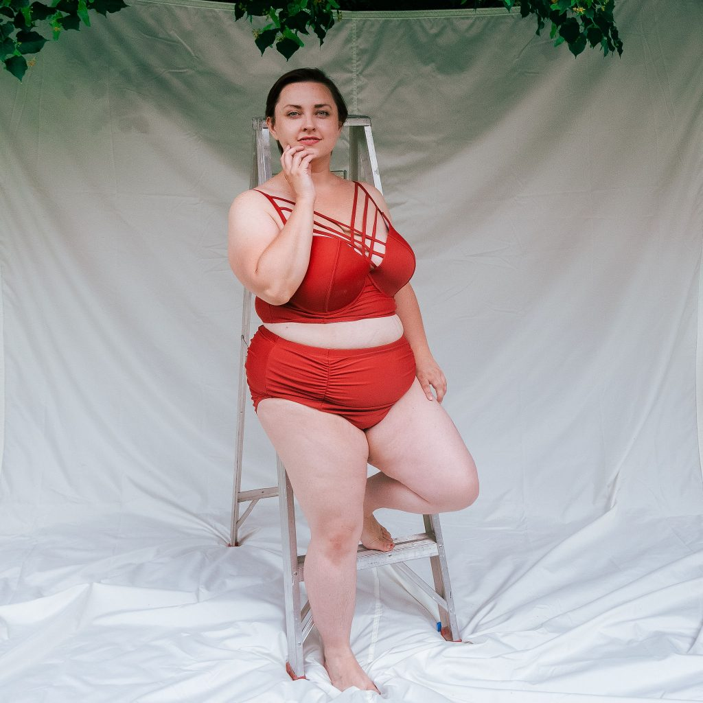 Utah plus size model reviews Amazon Fashion Swimsuits Two Biece Bikinis in red.jpg