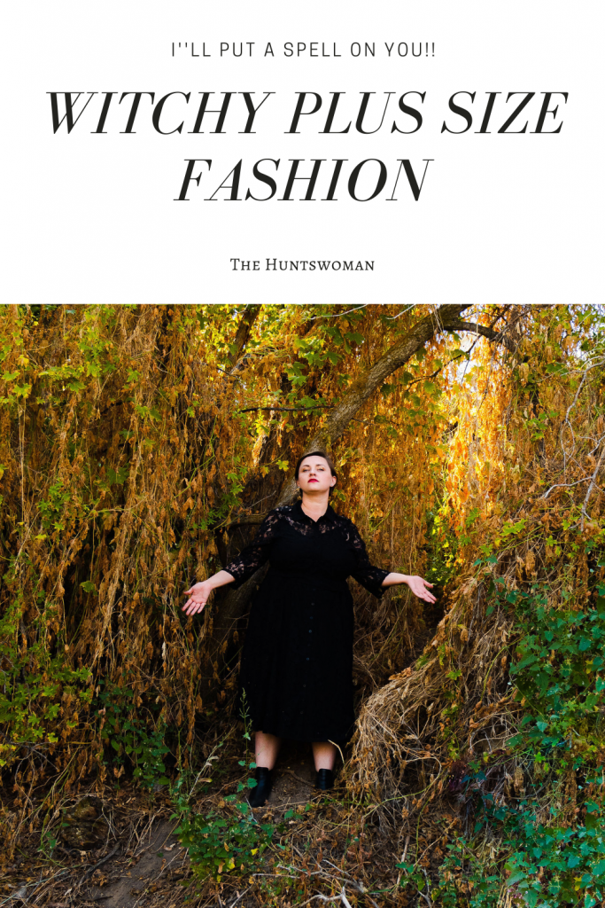 Witchy plus size photoshoot in black dress with boots
