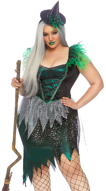 Sexy green and black plus size witch Halloween costume
