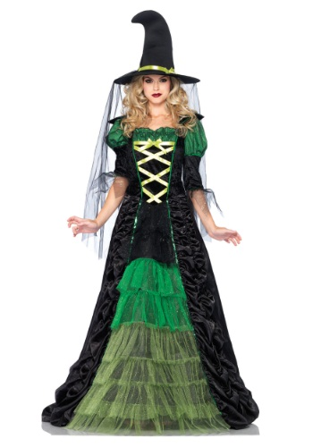 Plus size floor length witch costume, storybook inspired in green and black