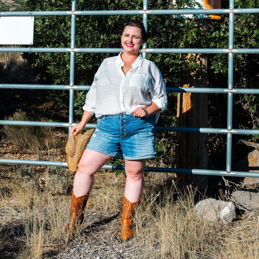 Plus size fashion photoshoot - cowgirl