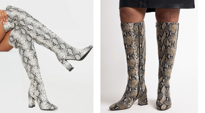 Where to buy wide width plus size snakeskin boots