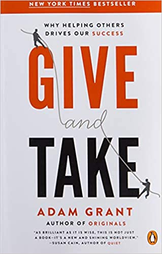Give and Take book cover (white background with black and red text).  This is a great book for new business owners.