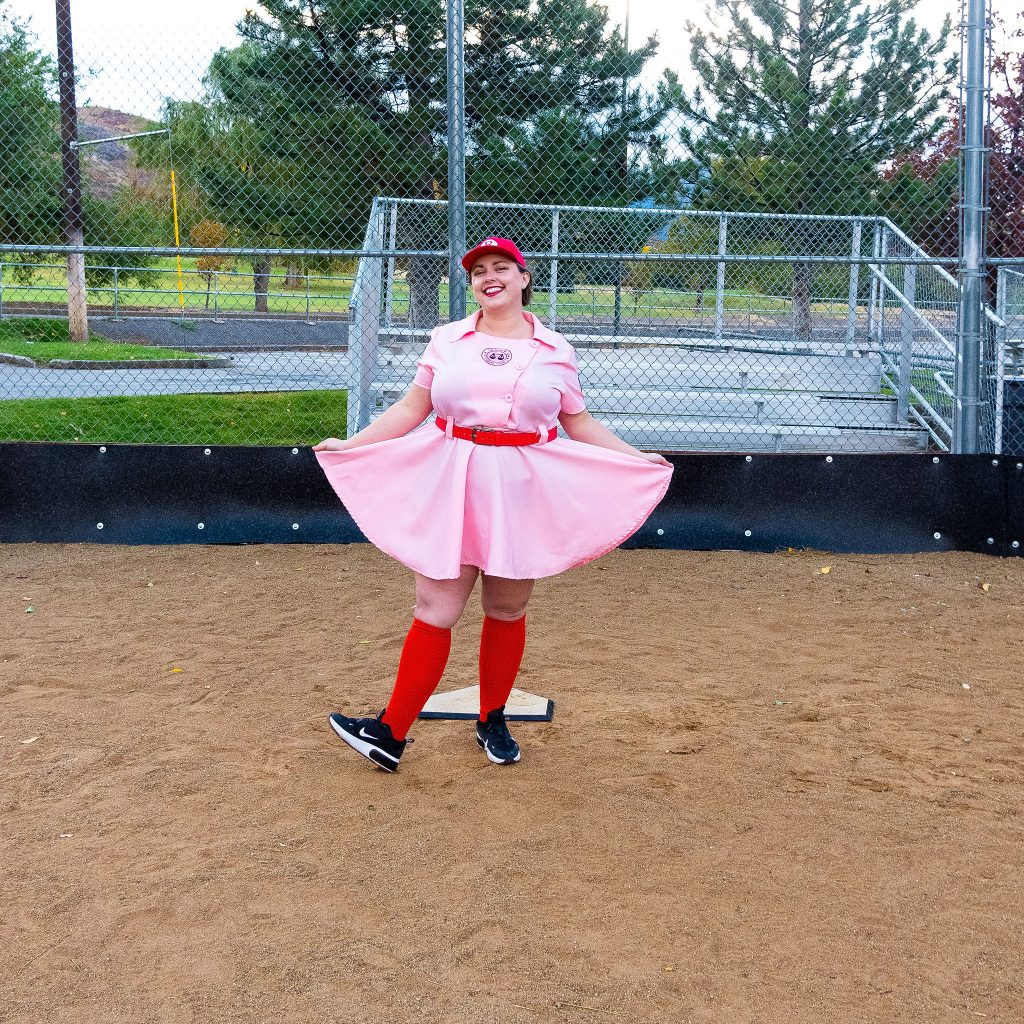 Costume Review - Plus Size a League of Their Own Halloween Costume - pink dress baseball costume