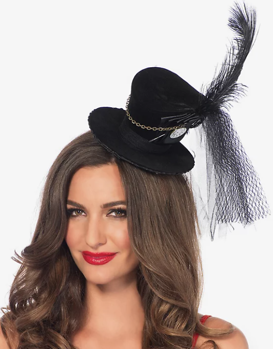 Plus size steampunk cosplay accessories - mini top hat with  feather for a steampunk costume.