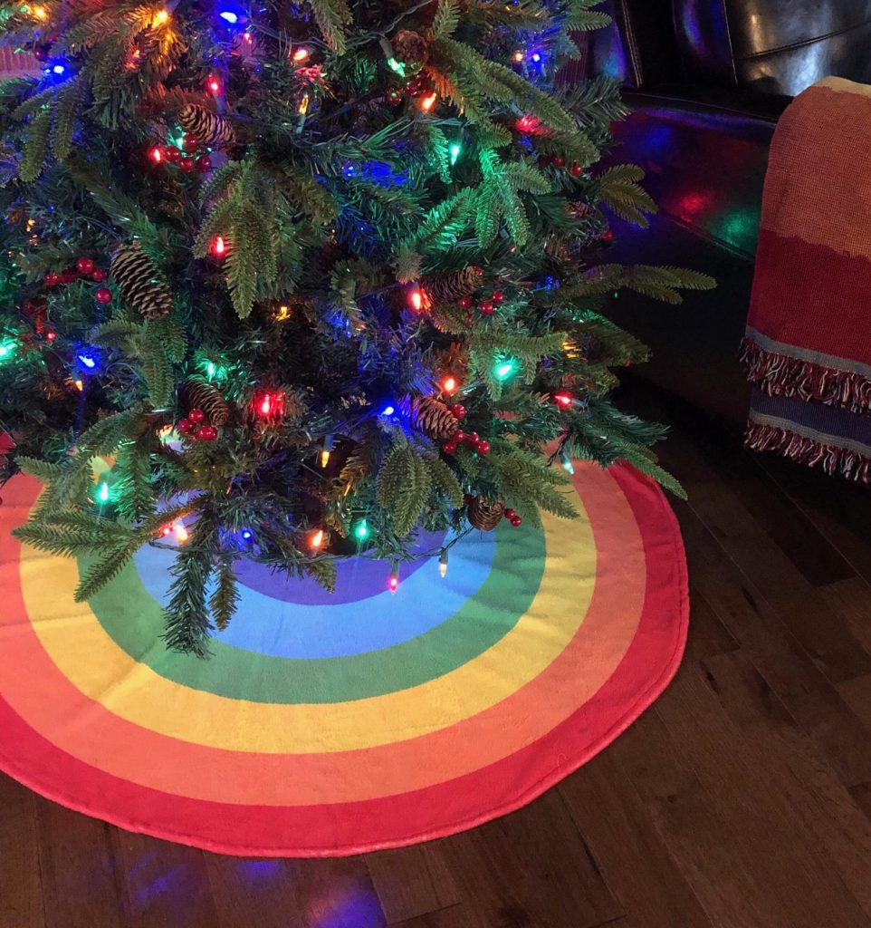 pride rainbow tree skirt - LGBT holiday christmas tree ornmanet