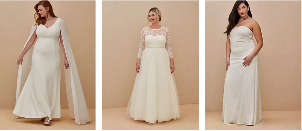 Plus size simple wedding gowns in floor length with cape, lace sleeves and no sleeves