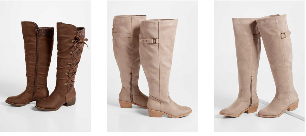 Wide Width Boots from Maurices in Creme, Brown and black.  Most wide width boots have flat heels and go up to the knee.