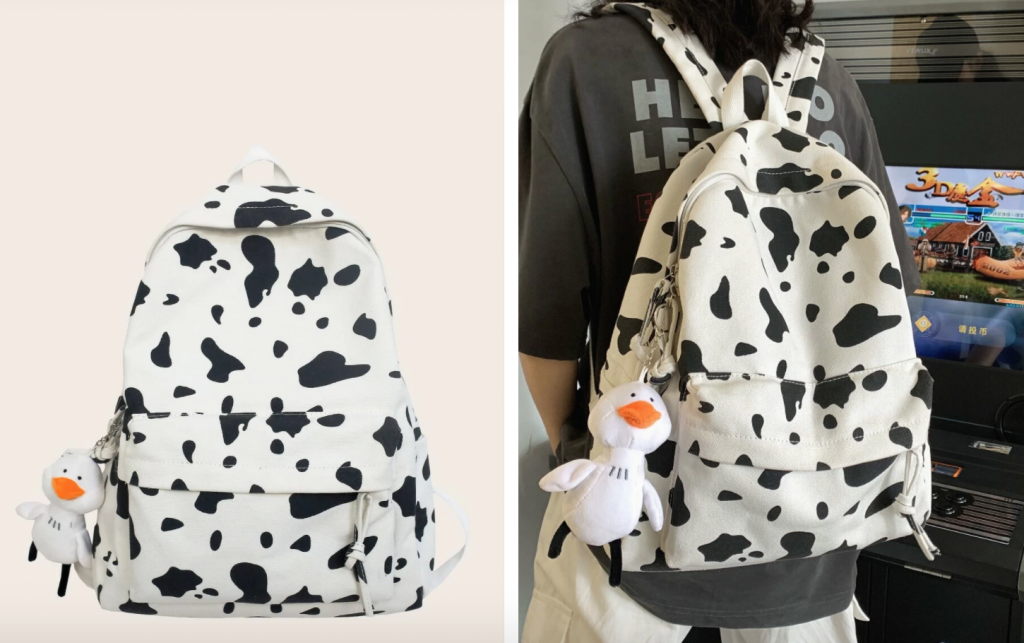 cute cow prin backpack