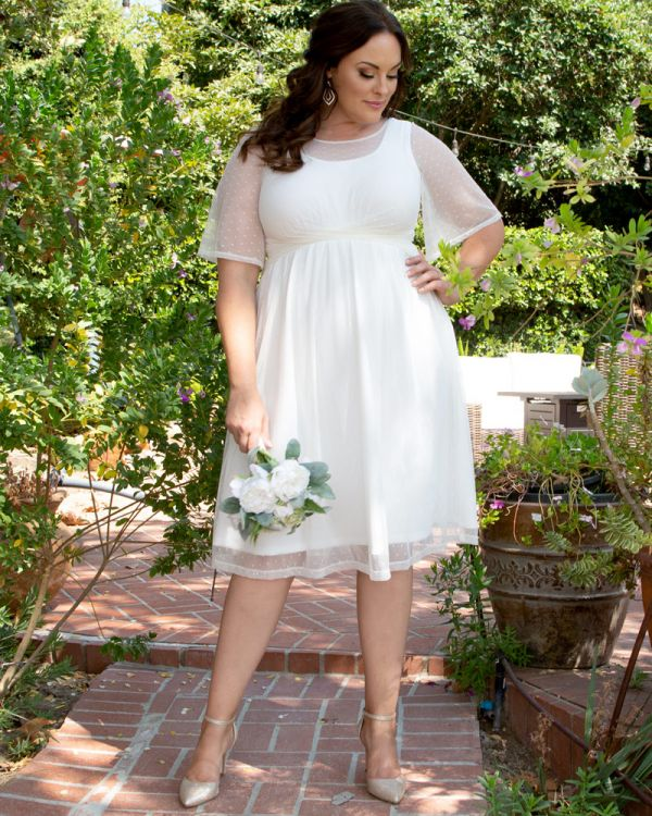 White short plus size elegant wedding dress with a-line skirt that goes to knees