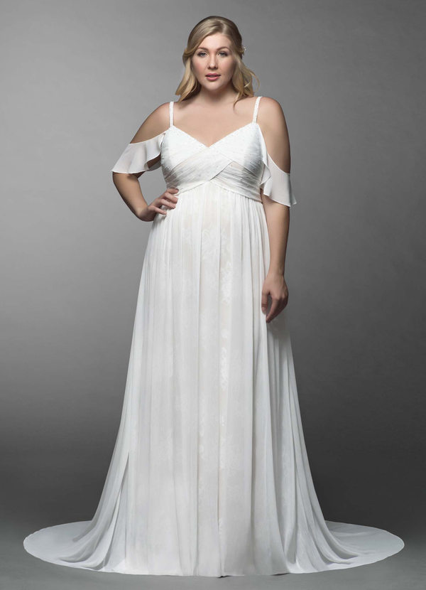 Beachy sophisticated white plus size floor length wedding dress with flutter sleeves and straps