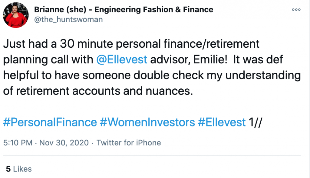 Twitter thread on ElleVest coaching session review