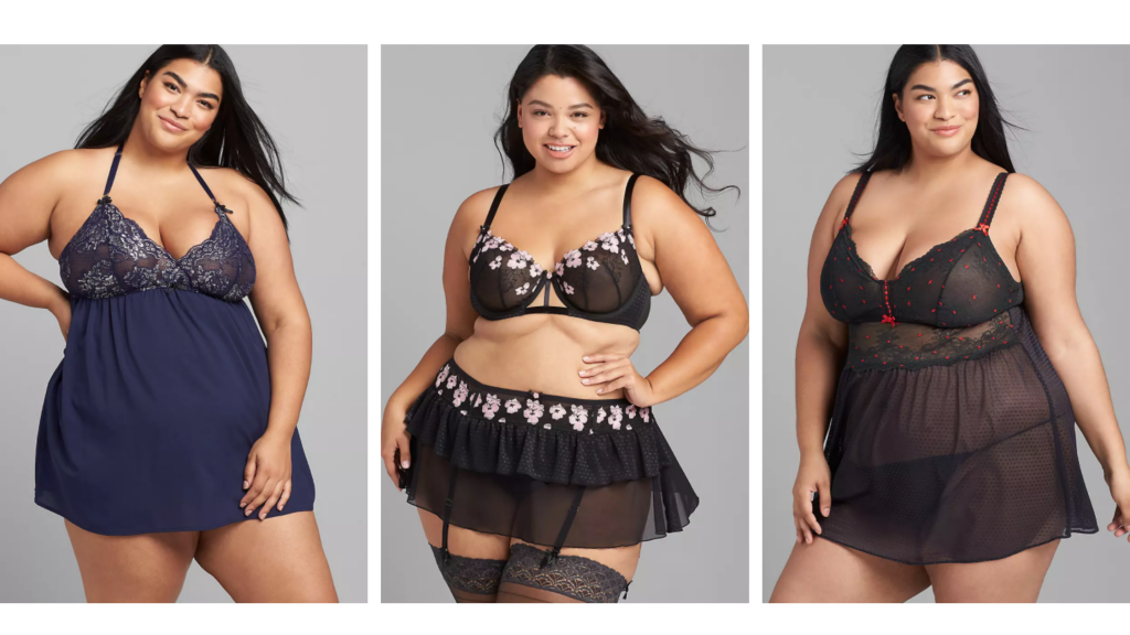 plus size 5X lingerie in chemises and two piece black sets and navy blue