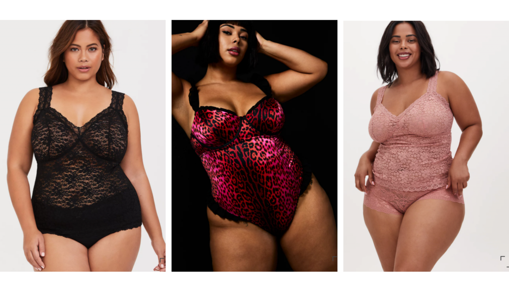 plus size 5x lligerie in black, animal print and soft pink bodysuits