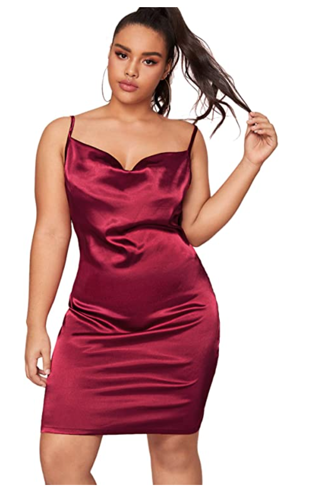 plus size red slip dress for Valentine's Day