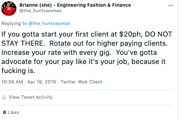 Tweet with tip on how to set rates as a freelancer.  Blog post is a guide on how to raise rates and land higher paying clients.
