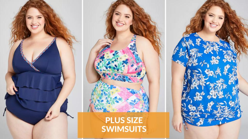 blue plus size swimsuits