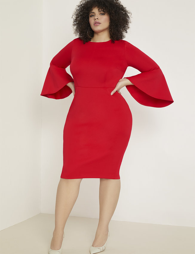 Red plus size dress with fit and flare for Valentine's Day