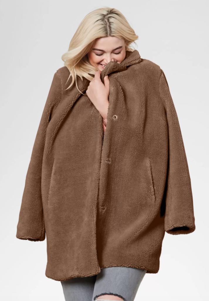 plus size faux fur coat