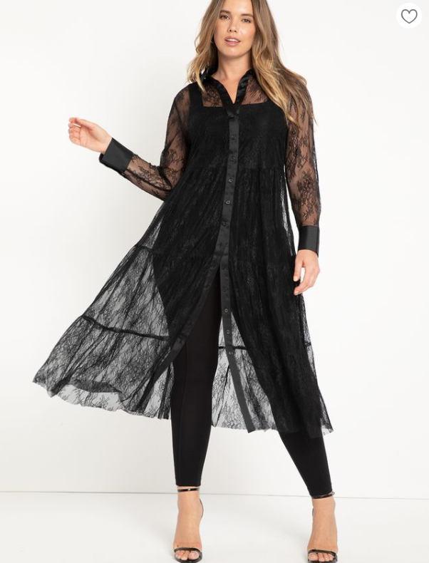 black lace  plus size outfit for Valentine's Day