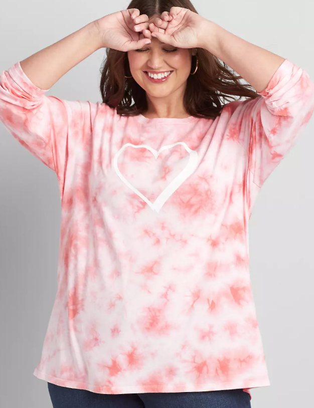 Tie Dye pink Valentine's Day shirt with heart and long sleeves