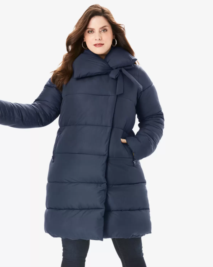 plus size down winter coat with collar