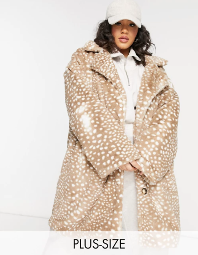 plus size coat made of faux fur