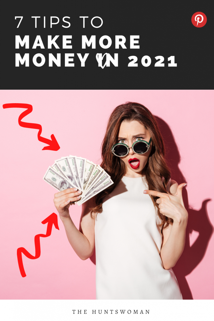 pinterest graphic for make more money.  woman is wearing sunglasses and holding 100 dollar bills.