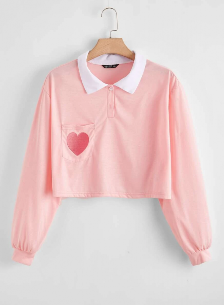 Retro vintage pink Valentine's Day shirt with heart and pocket and collar