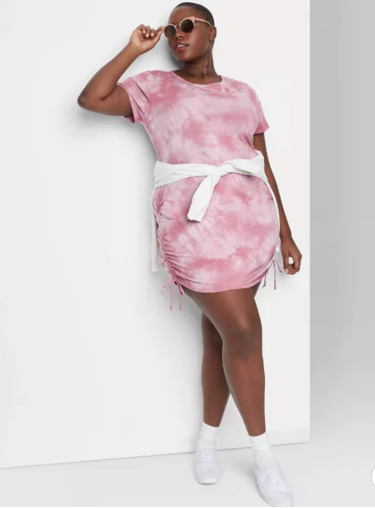 pink and white plus size  tie dye Dress