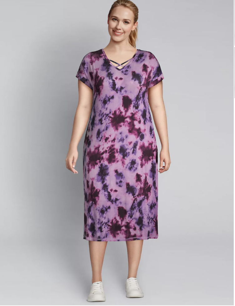 pink and purple plus size  tie dye Dress