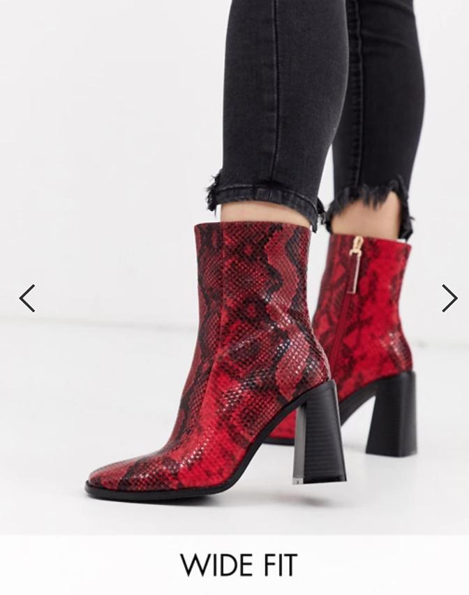 Red Wide Width Shoe Snakeskin Boots