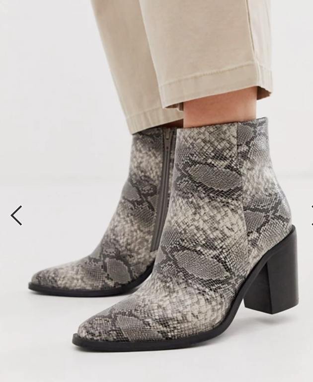 Wide width snakeskin boots black, white gray booties
