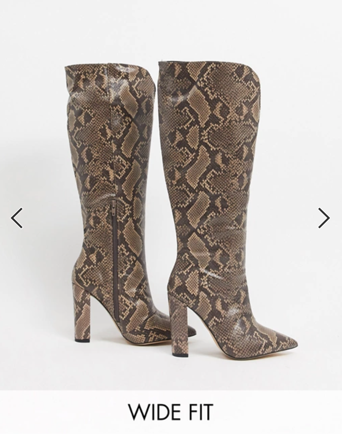 Wide Width Faux Snakeskin Boots from ASOS
