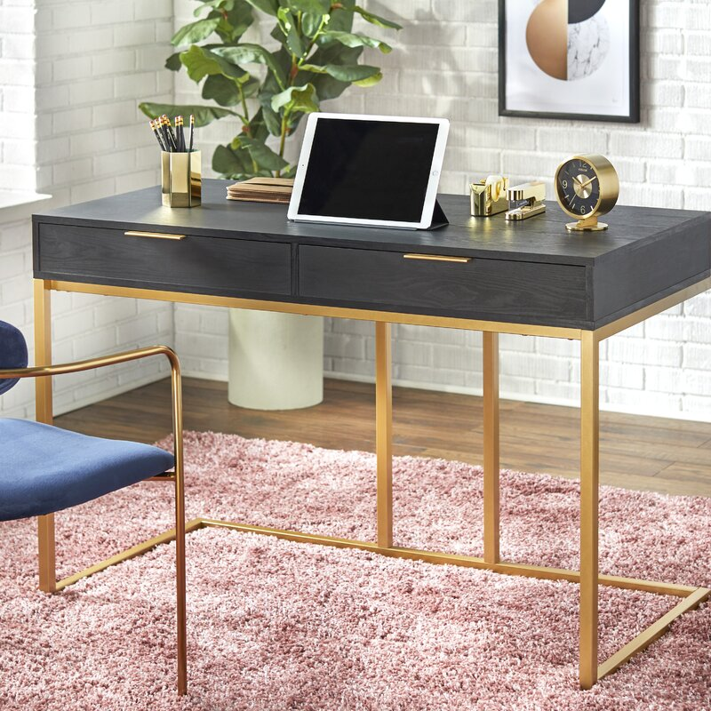 Black and gold office desk for the home