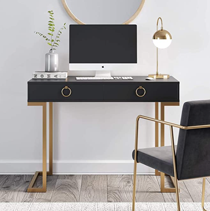 Black and gold office desk