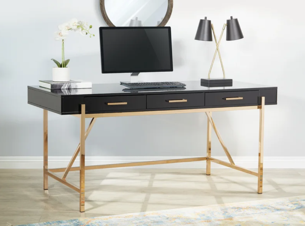 Black and gold office desk with 3 drawers