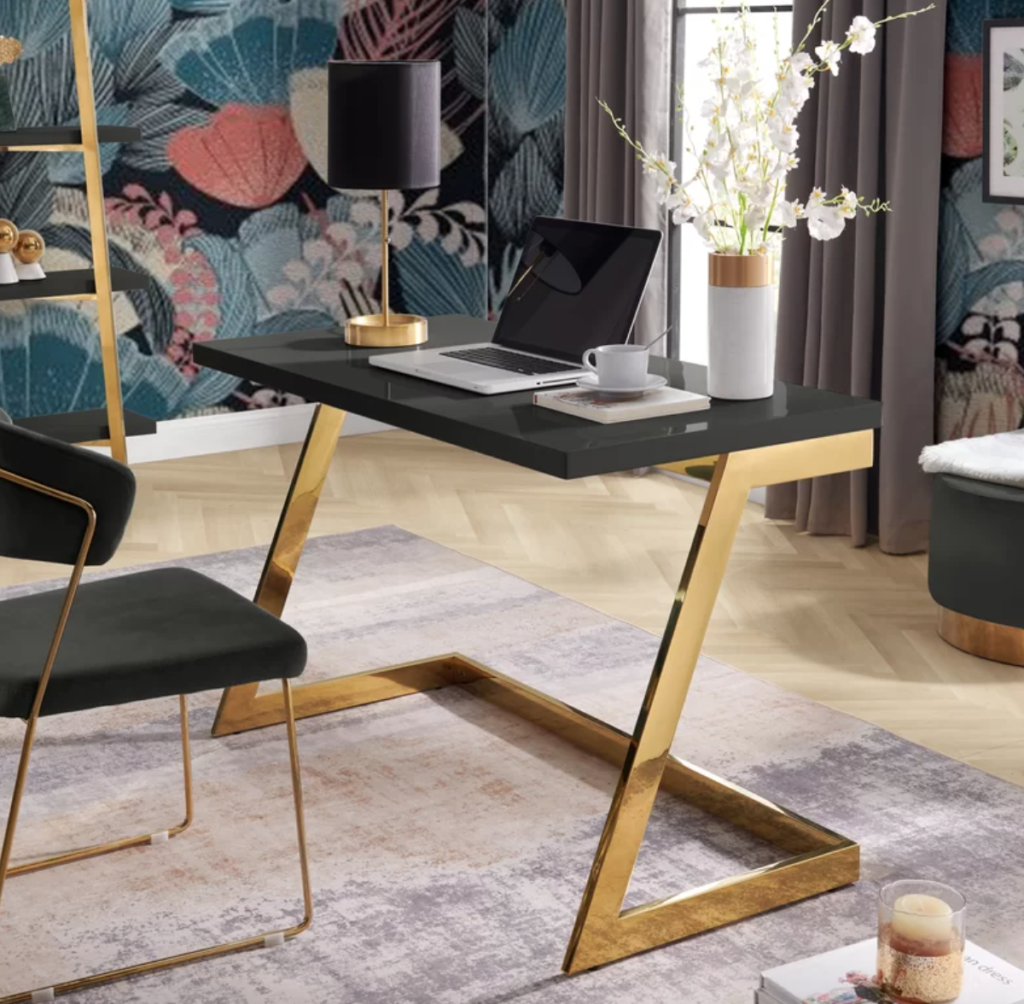 Black and gold home office desk