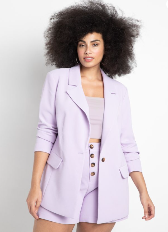 Plus Size Blazer Short Set in lavender form ELoquii