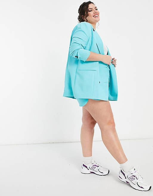 Plus Size Blazer Short Set in bright blue from ASOS and River Island